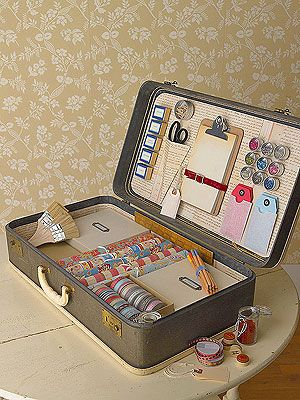 Stack vintage suitcases in towers to create mini closets for stashing things. Strip, clean, and decoupage the insides. Replace broken handles with belts or ribbons: Crafts Stations, Vintage Suitcases, Crafts Boxes, Old Suitcases, Crafts Storage, Gifts Wraps, Storage Ideas, Crafts Supplies, Wraps Stations