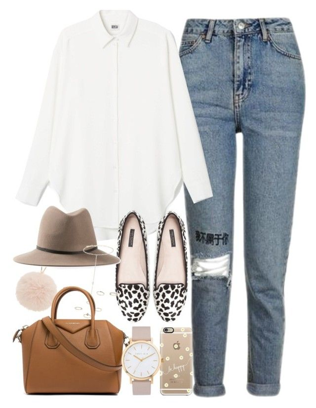 """""""Outfit for work with a blouse and flats"""" by ferned on Polyvore featuring Topshop, Furla, Zara, Casetify, Janessa Leone, Givenchy and The Horse"""