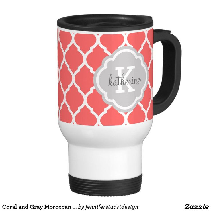 Personalized travel Mug Coral and Gray Moroccan Quatrefoil.