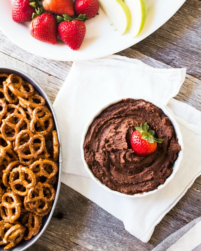 As dip for fruit and pretzels, this dark chocolate hummus is a surprising hit at parties and showers. It's perfect for entertaining!