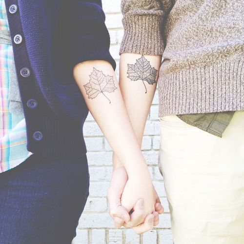 leaf couples tattoo | fall autum tattoo | matching tattoos | InkedWeddings.com