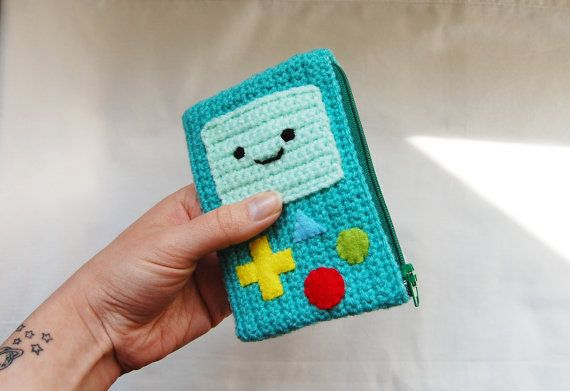 Crochet Coin Purse BMO Adventure Time Zipper Pouch Beemo                                                                                                                                                                                 More