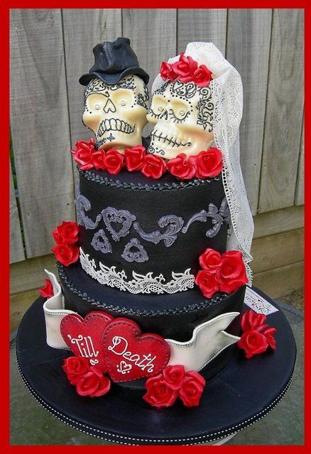 'Till Death ~ Gothic Skulls Wedding Cake