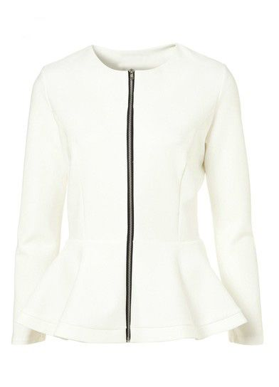 White Long Sleeve Zipper Ruffles ---wear with leather skinnies or dark denim