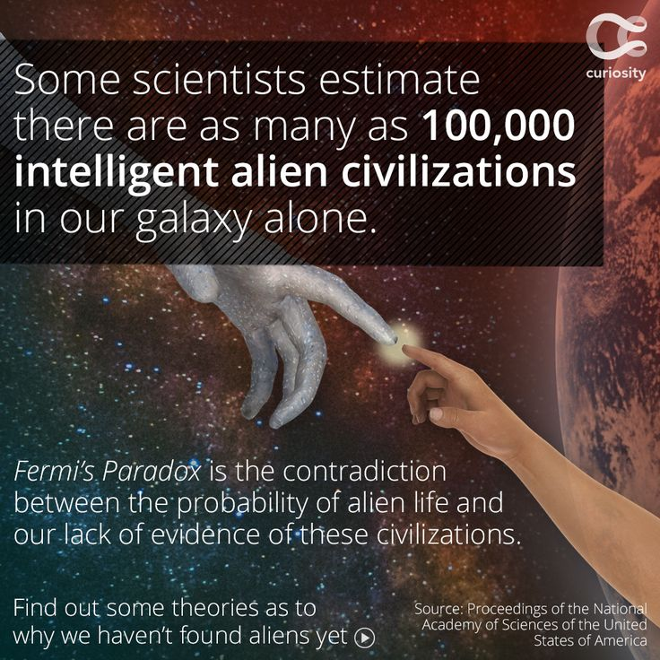 Fermi's Paradox ponders the question that if the universe is so big and old, and there are countless opportunities for life, why have we not found aliens? it is the contradiction of likelihood and lack of evidence. Based on points raised by Fermi and physicist Michael H. Hart, Earth should already have been visited by extraterrestrials, however Fermi saw no convincing evidence that this has happened. Where is everybody?  Click the image above to learn more!