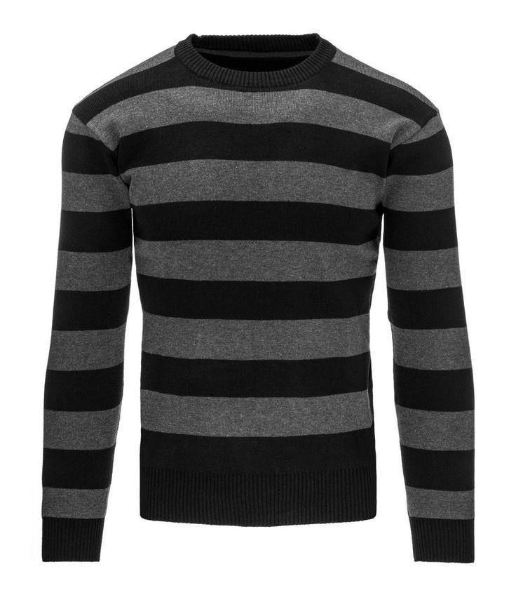 Pánsky pásikavý čierny sveter