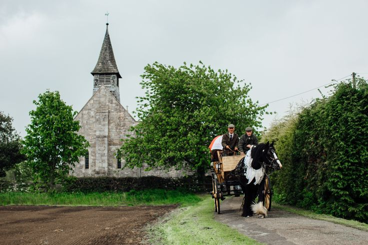 A Bespoke Dress for a Boho Wedding at Home. Wedding horse and cart.  Image by Photogenick Photography.  Read more: http://bridesupnorth.com/2016/07/13/poppies-tweed-a-bespoke-dress-for-a-boho-wedding-at-home-emily-kingsley/
