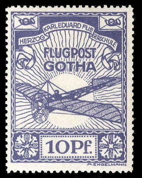 German Empire Semi Offical Airmail Stamps, Michel 5 - 1912 Gotha, 10pf violet blue, n.h., v.f., signed Dr. Oertel, (Catalog value €800)  Lot condition **  Dealer Cherrystone Auction  Auction Estimate price: 230.00 US$