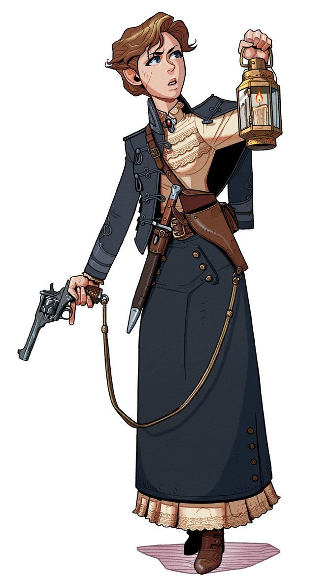 """clockworkoldgod: """" Webley-Fosbery by thdark Love the aesthetic here, seems perfect for a Call of Cthulhu game. """" She looks like an adventurer of experience."""