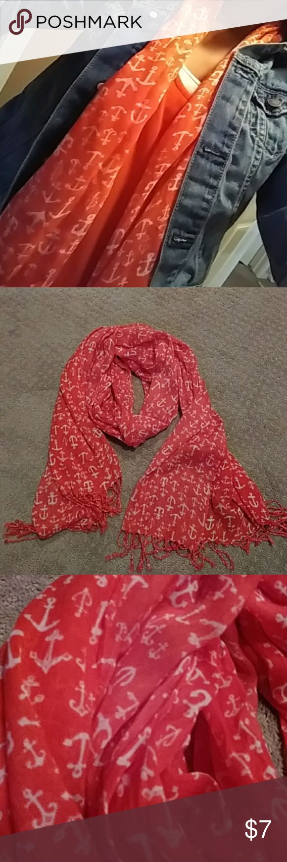 Light weight orange anchor scarf Great for Summer or Spring Accessories Scarves & Wraps