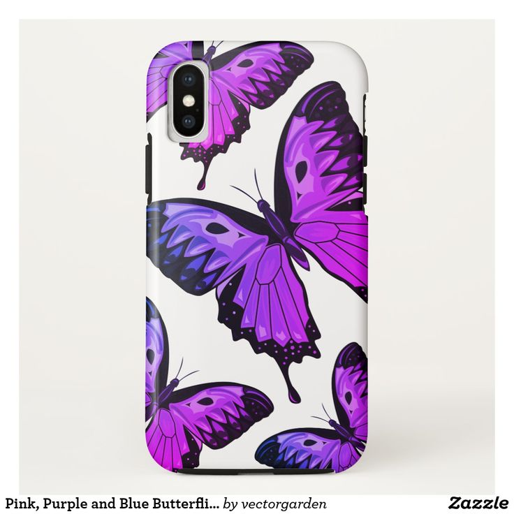 Pink, Purple and Blue Butterflies iPhone X Case