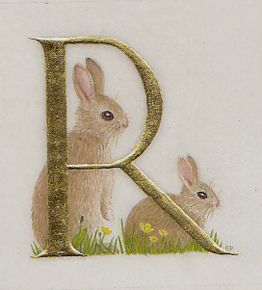 R for rabbits. Watercolour on vellum with gold leaf.  Kathy Pickles.