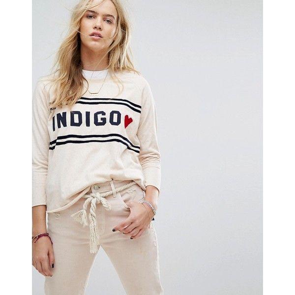 Maison Scotch Soft Sweat With Indigo Detail (1,185 EGP) ❤ liked on Polyvore featuring tops, hoodies, sweatshirts, white, white leather shirt, polka dot shirts, white polka dot shirt, leather shirt and embroidered sweatshirts