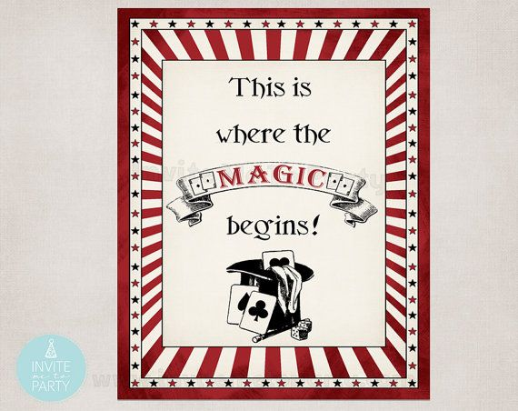 This is where the magic begins poster This is where the magic begins printable sign by InviteMe2Party