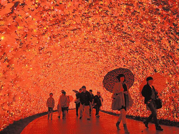 The Tunnel of Light at Winter Illumination at Nabana no Sato in Kuwana, Japan