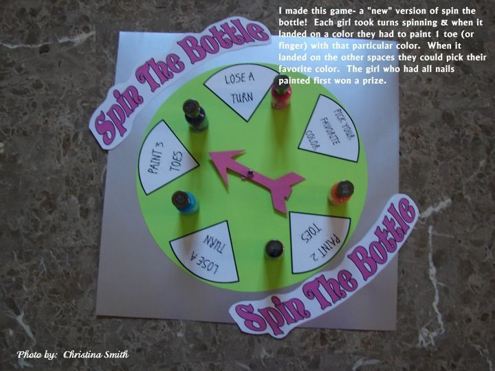 Great slumber party ideas for girls. I like the spin the bottle game. The girls have to paint a toe or fingernail in whatever color the spinner lands on.