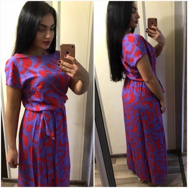 Летнее длинное женское платье пояс в цвет платья красный узор фиолетовое