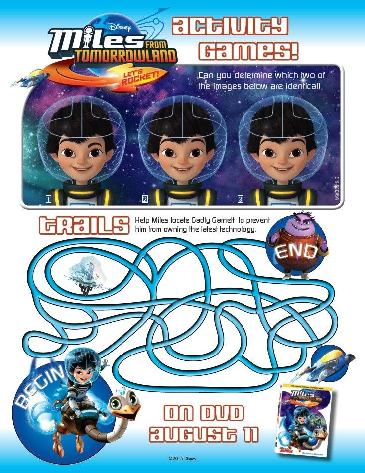 Miles From Tomorrowland activity and coloring pages will keep your child entertained any day. Join Disney Junior's Miles through Tomorrowland adventures! Activity Games