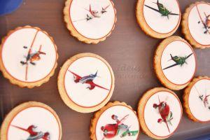 Galletas decoradas Aviones (Planes) con impresiones comestibles en papel de azúcar.