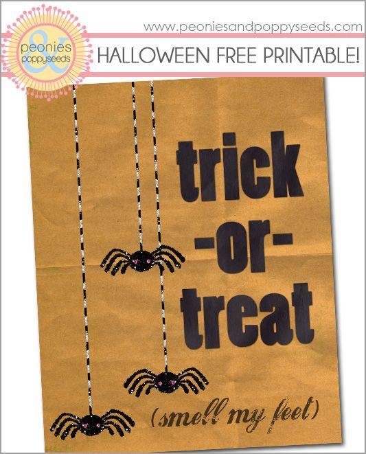 free printable trick or treat smell my feet halloween decoration with