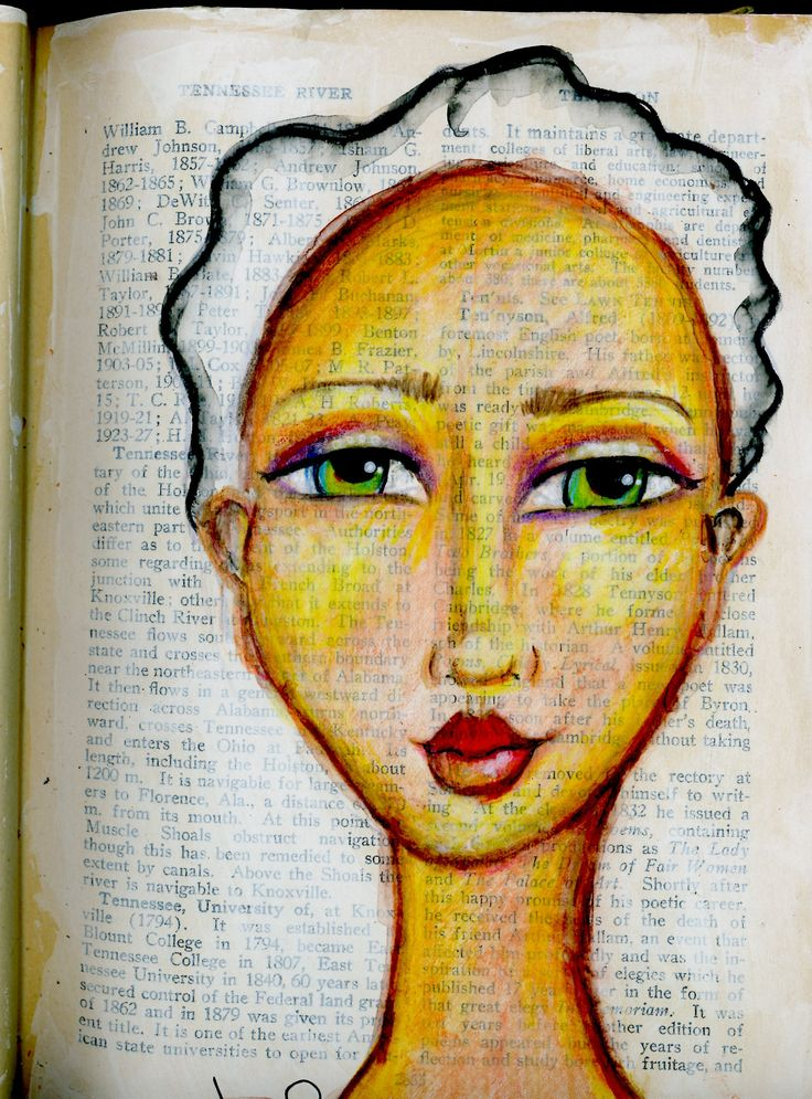 """From my """"The Face Book"""" altered book for practicing faces. BananaCurlGirl.com"""