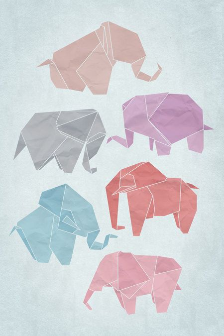 Origami Elephants Poster Art Print Digital by pikselmatic on Etsy,