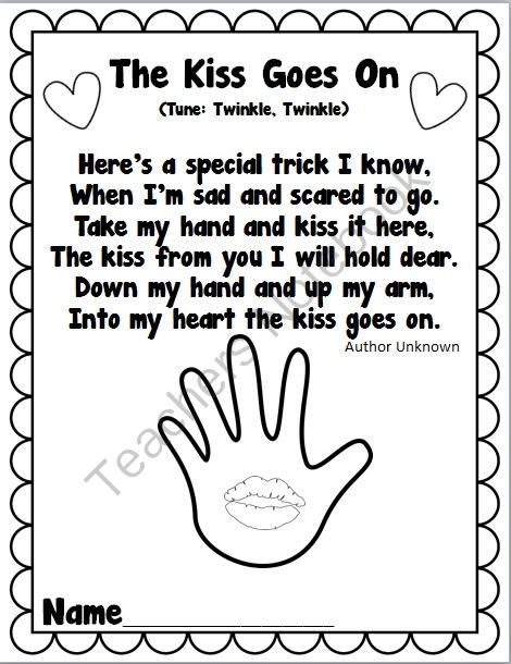 The Kissing Hand- Kiss Goes On Freebie from Teaching With Passion on TeachersNotebook.com (1 page)  - Cute Poem to go along with the book, The Kissing Hand! This is one of the handouts available in The Kissing Hand Back to School Pack that I have available. Author Unknown