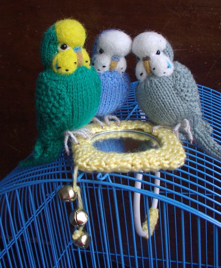 knitted budgie's with a  needle felted face.