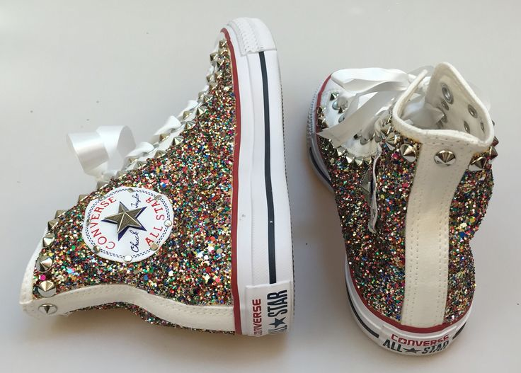Converse all star personalizzate con tessuto glitter e borchie. Customize converse all star using glitter fabric and studs