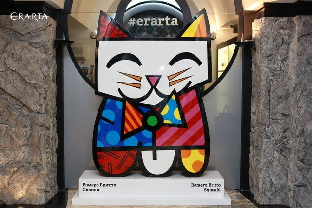 Кот Сквики авторства Ромеро Бритто в Эрарте. Romero Britto at #Erarta Museum.