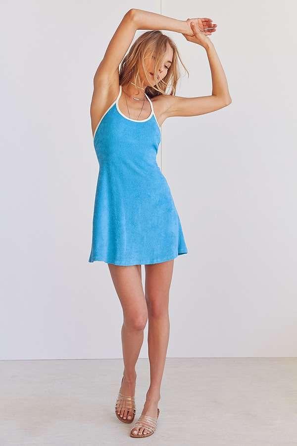 Slide View: 5: BDG Tara Terry Blue Halter Mini Dress
