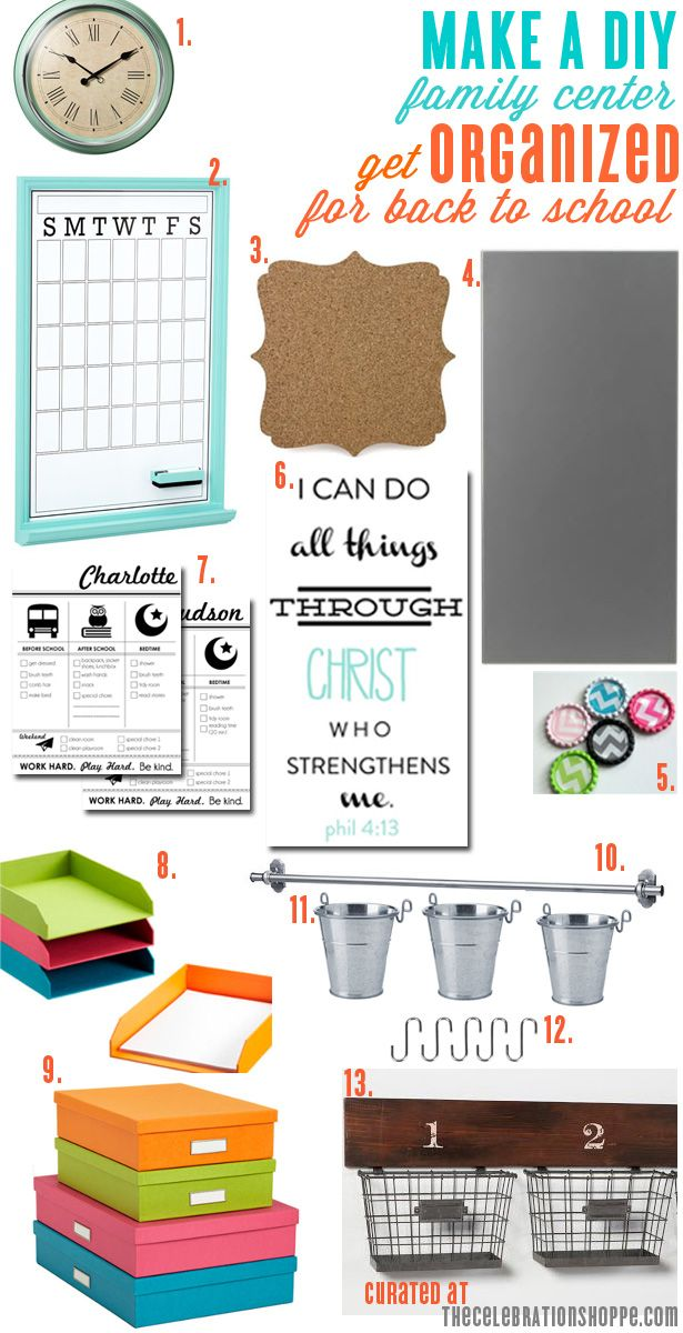 Control the clutter with a DIY family center for back to school! Here's a list/link of all the goodies you'll need to create your own! | thecelebrationshoppe.com