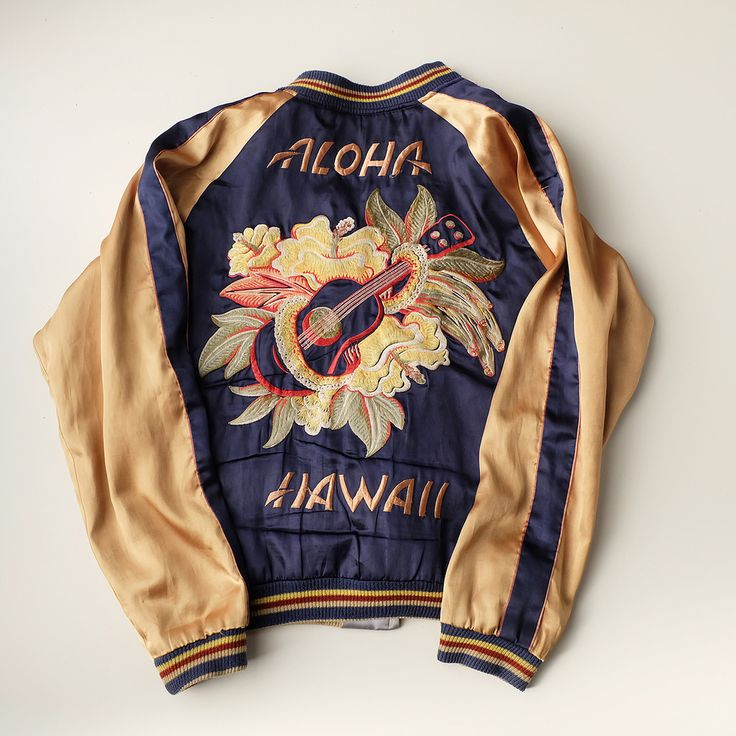 Toyo TAILOR Japanese ALOHA HAWAII × DRAGON Ryu Flowers Japan Surfing Surfer Nemo Fish Souvenir Sukajan Jacket - Japan Lover Me Store