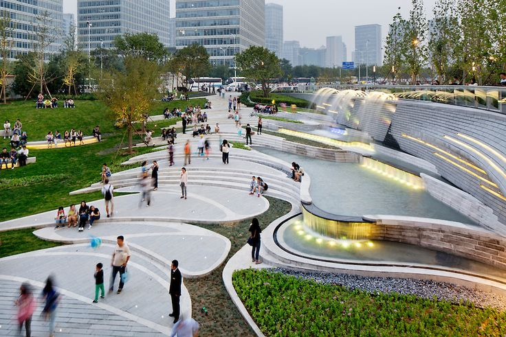 Public plaza of the galaxy soho designed by zaha hadid for Spaces landscape architecture