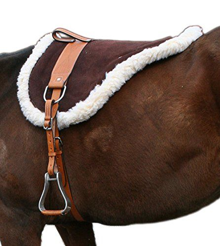 BROWN SUEDE NATURAL LEATHER HORSEBACK RIDING DURABLE WESTERN FLEECE CLOSE CONTACT BAREBACK HORSE SADDLE PAD (Standard)