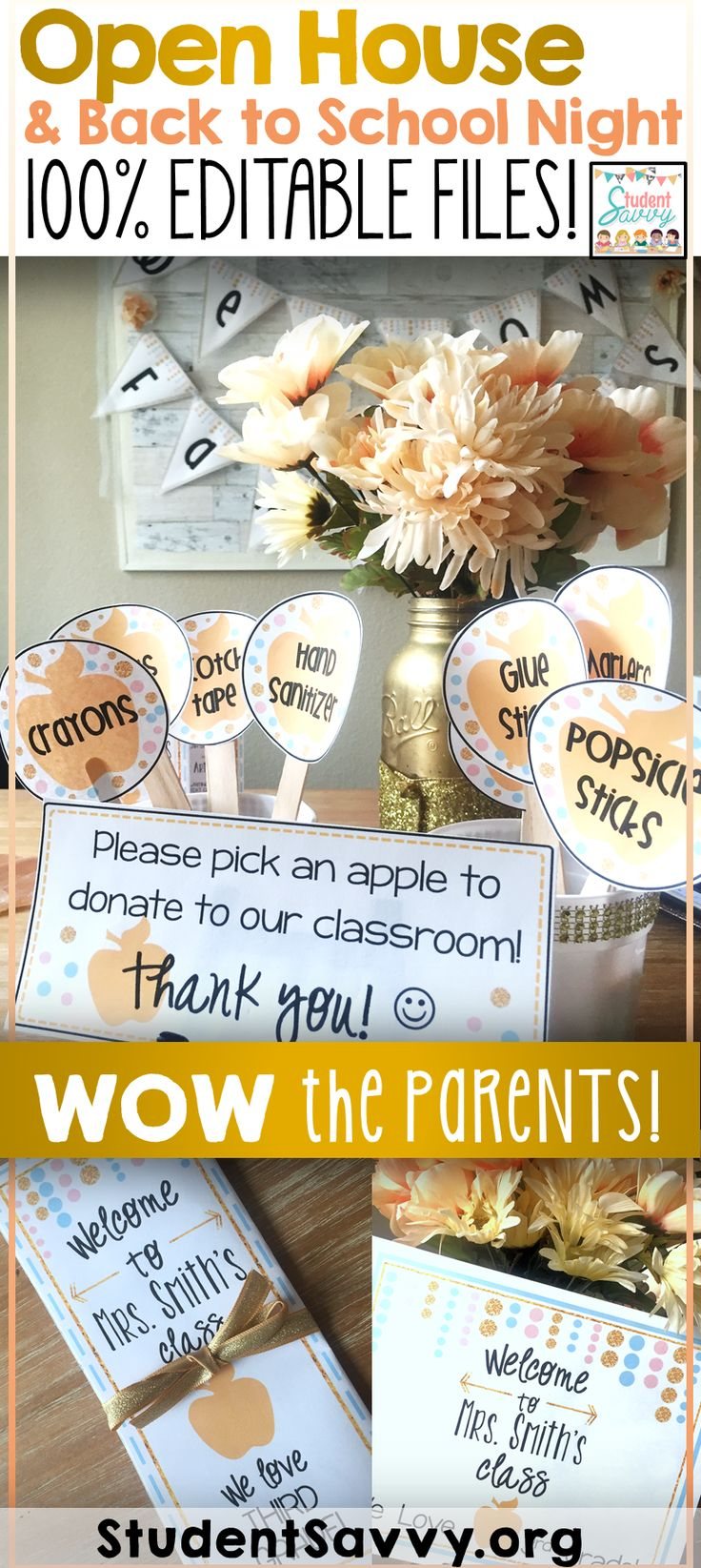 WOW your parents and have the perfect Open House - Meet the Teacher - or Back to School Night! This resource contains forms, decorations, and essentials to have a successful Open House or Meet the Teacher Night!