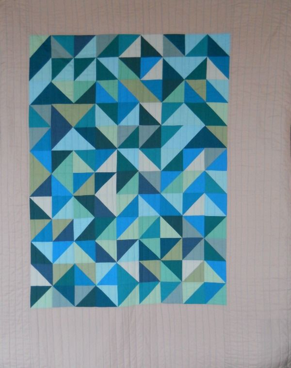 'shards' half square triangle quilt from a cuppa and a catch up