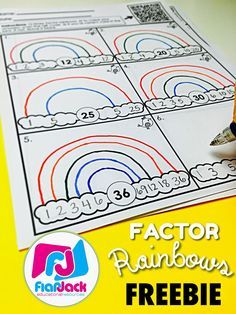 Factor Rainbows Worksheet Freebie - Worksheets can be fun! Students draw factor rainbows and then check their answers by scanning the QR code. Spanish version is also included.