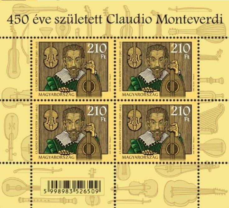 2017, 450th Anniversary of the birth of Claudio Monteverdi (1567–1643), Miniature Sheet of 4 stamps