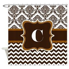 Letter C Brown and Tan color Damask Chevron Design