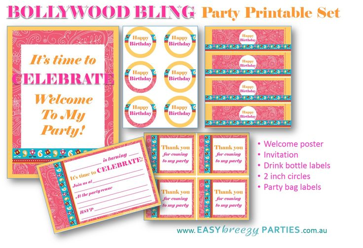 FREE 'BOLLYWOOD BLING' PARTY PRINTABLE PACK! http://easybreezyparties.com.au/party-inspiration-and-ideas/item/90-subscribe-to-our-newsletter.html. You can also choose Superhero, 'Frozen' and Mad Science printable packs.