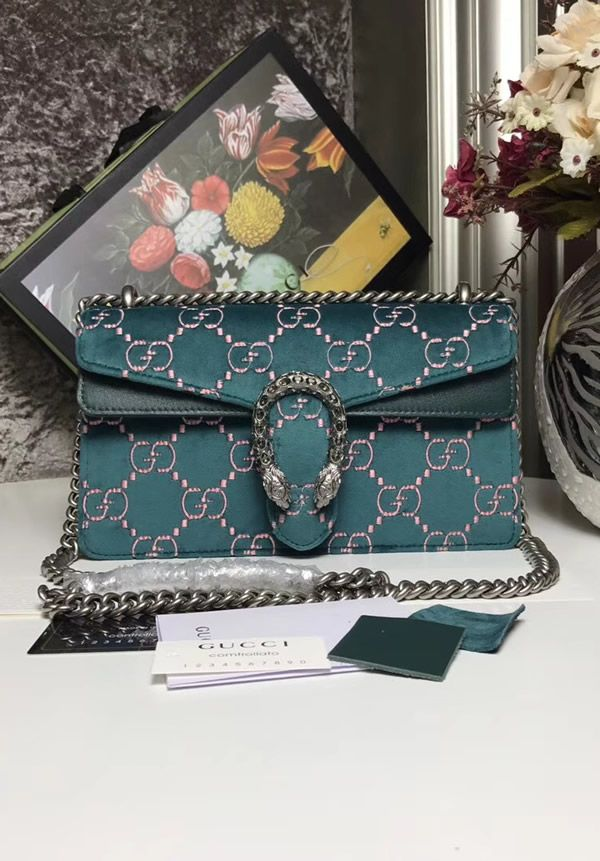 d87301f94c5da7 Gucci Dionysus Blue GG velvet small shoulder bag isn't a new creation. As a  matter of fact, it is redesigned model ready for Cruise 2018 collection.