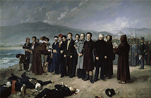 Oil Painting Gisbert Perez Antonio The Execution By Firing Squad Of Torrijos His Colleages On The Beach At Malaga 1888 20 x 31 inch  51 x 78 cm  on High Definition HD canvas prints Bed R decor ** Check out the image by visiting the link.