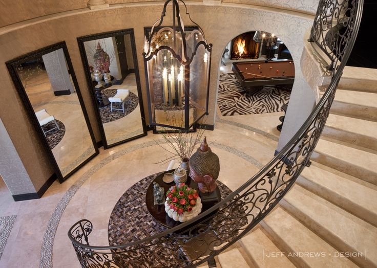 floor mirrors in curved entry way. Jeff Andrews Design
