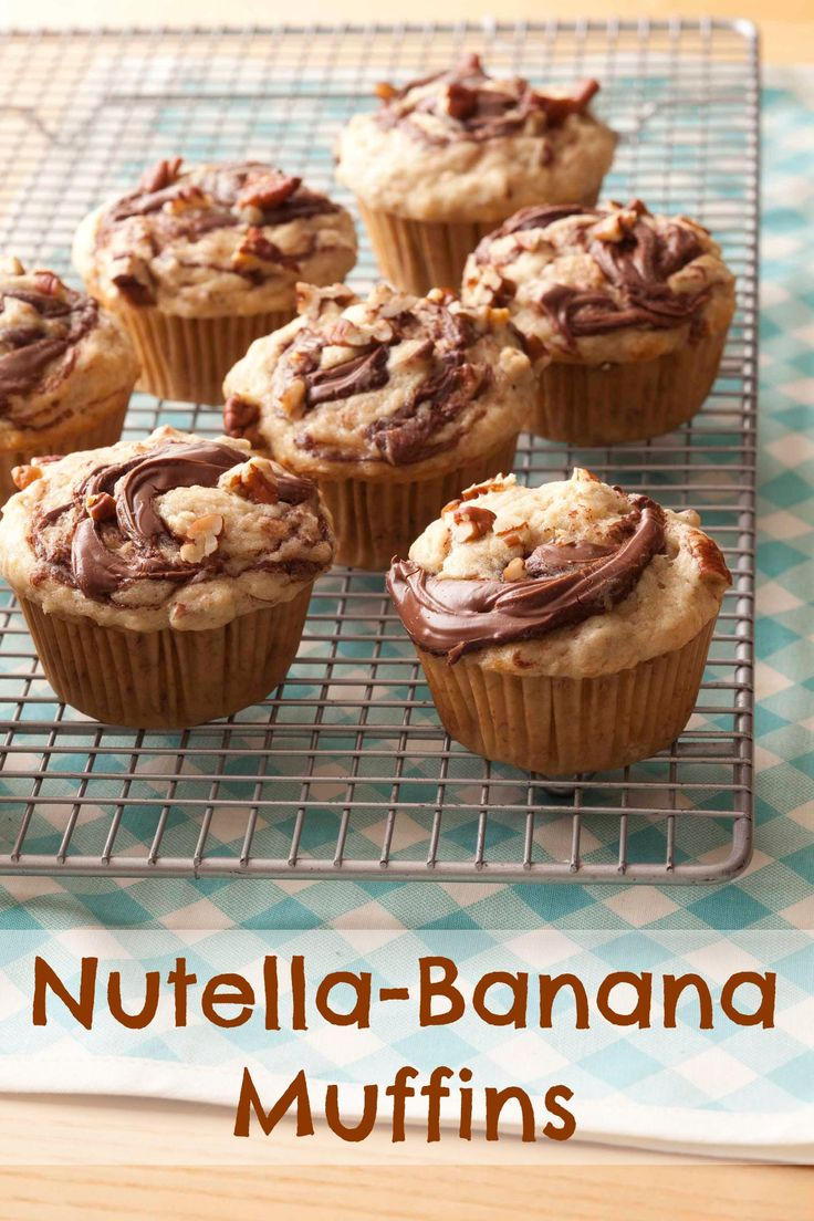 Such a yummy, easy breakfast recipe! How to make Nutella-Banana Muffins #recipe #breakfast #eatclean