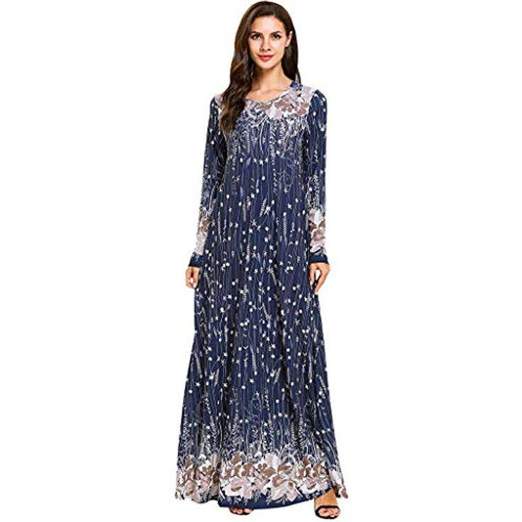 Womens Dresses #55357;#56469; Printed Sequins National Robe Abaya Islamic Muslim…