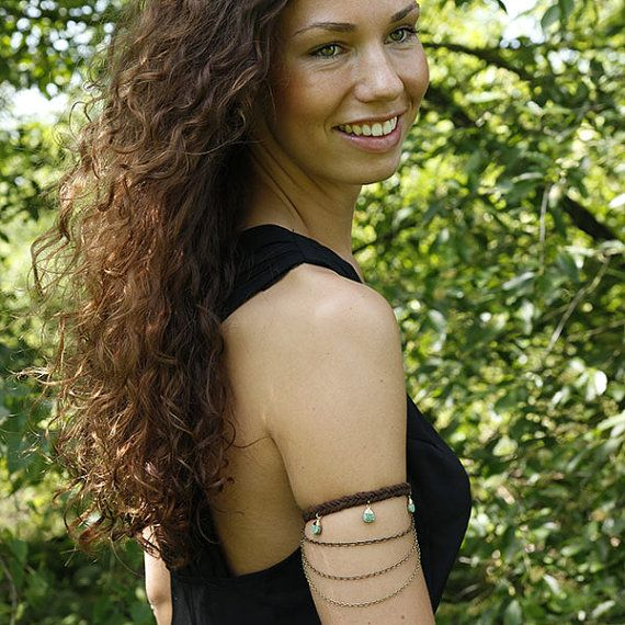 Free Spirit - Boho Bum Upper Arm -Pieces of wire wrapped turquoise and waterfall brass chains in different weights...