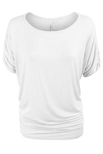 Womens Plain Crew Neck Batwing Short Sleeve T-shirt White