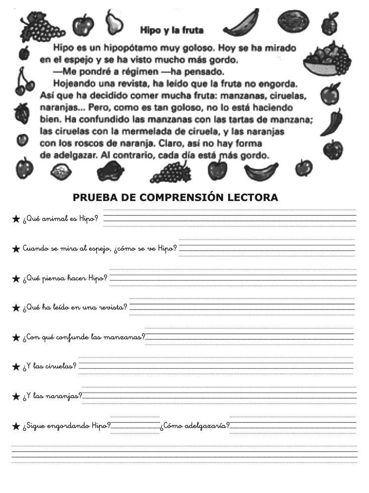 FICHAS PARA NIÑOS: FICHAS DE COMPRENSIÓN LECTORA