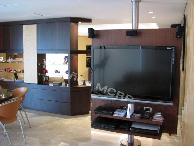 mueble giratorio en wengue para tv y diversin base en acero